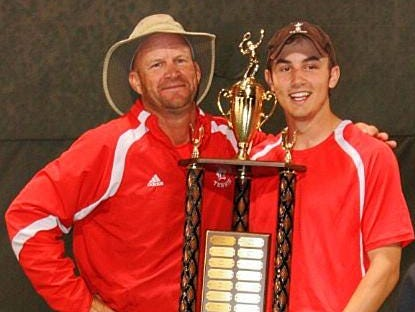 Leon tennis coach Kevin Record and son Josh Record celebrate after the Lions won the 2013 city title at FSU's tennis complex.