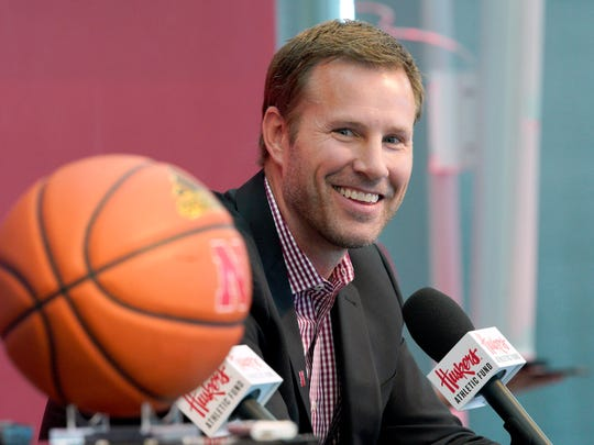 Fred Hoiberg is introduced as Nebraska's new NCAA college basketball head coach at a news conference in Lincoln, Neb., Tuesday, April 2, 2019. Hoiberg, former head coach for the Chicago Bulls and Iowa State, replaces fired head coach Tim Miles. (AP Photo/Nati Harnik)