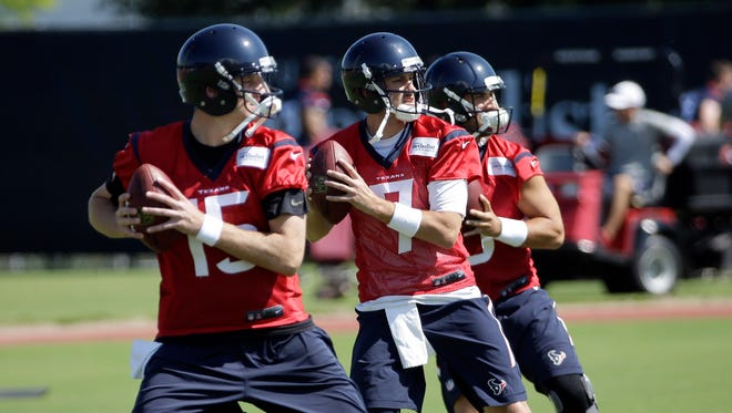 Texans QBs Ryan Mallett (15) and Brian Hoyer (7) will likely battle to start in 2015.