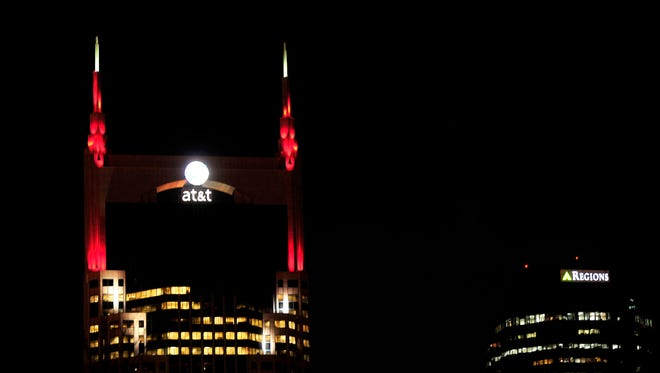 The AT&T building is lit up in red to mark the 12th annual National Wear Red Day in Nashville, Tenn., Friday, Feb. 6, 2015.