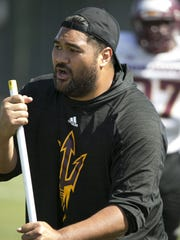 ASU defensive lineman coach Shaun Nua during ASU football