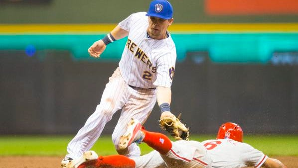 Milwaukee Brewers second baseman Scooter Gennett (2) tags out Philadelphia Phillies second baseman Cesar Hernandez (16) during the third inning at Miller Park in Milwaukee on Friday night.