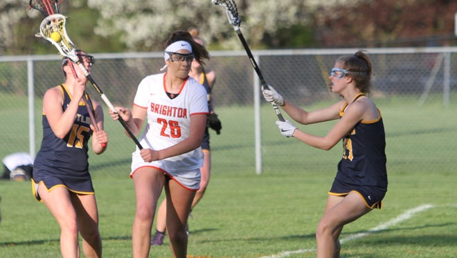 Hannah Kelley (26) had five goals for Brighton in a 23-1 victory over Ann Arbor Huron.