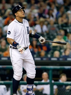 Miguel Cabrera watches his two-run, walk-off home run to give the Tigers a 5-3 victory over the Rays, Thursday, June 15, 2017 at Comerica Park.