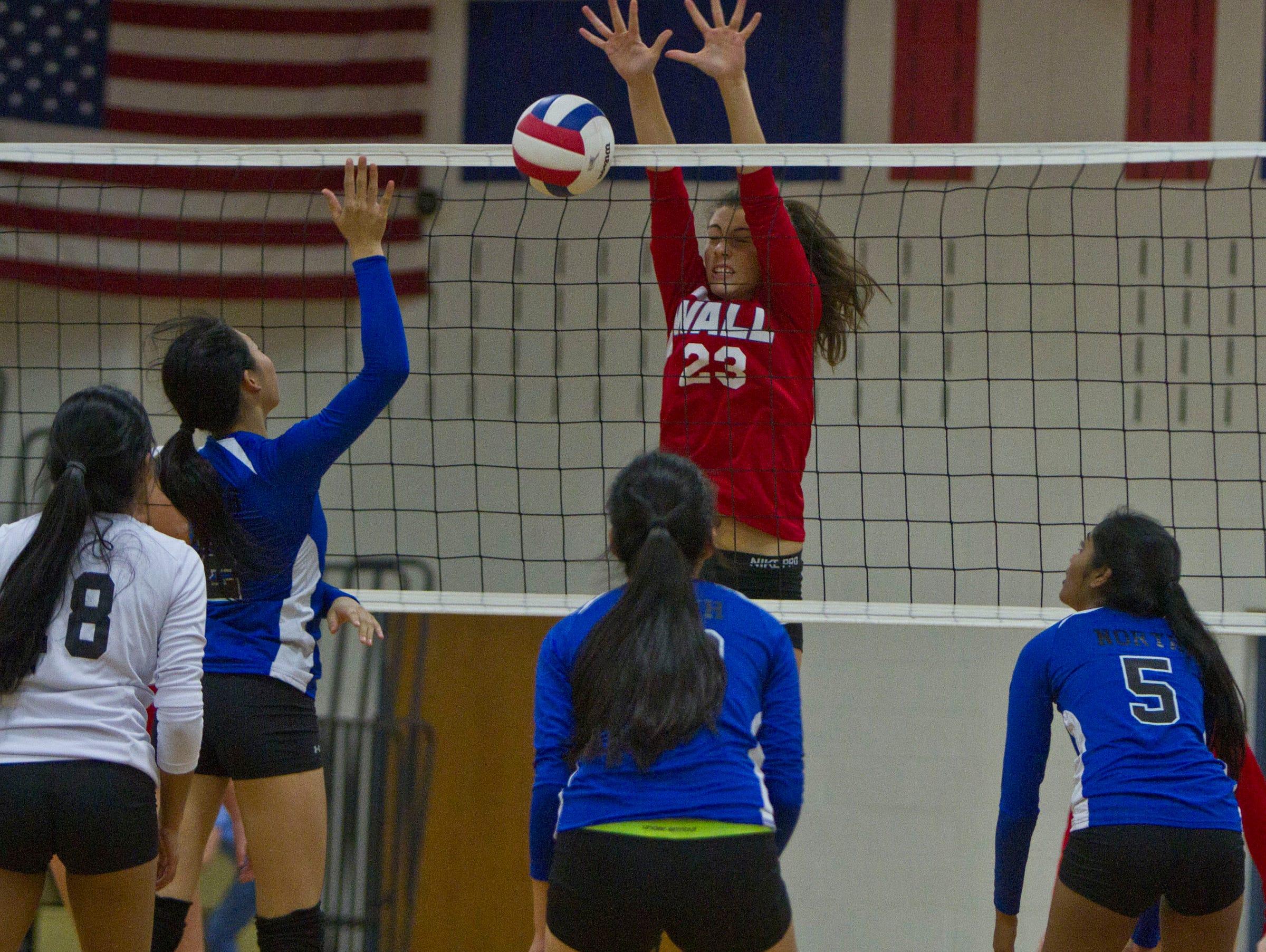Wall's Tara Casuccio blocks a shot. NJSIAA volleyball match between Wall and West Windsor Plainsboro North. Wall Township, NJ Wednesday, November 4, 2015 @dhoodhood