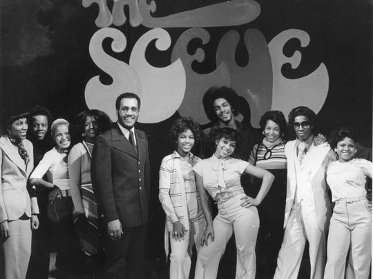 """Host Nat Morris and some dancers from the WGPR-TV  music show """"The Scene."""""""