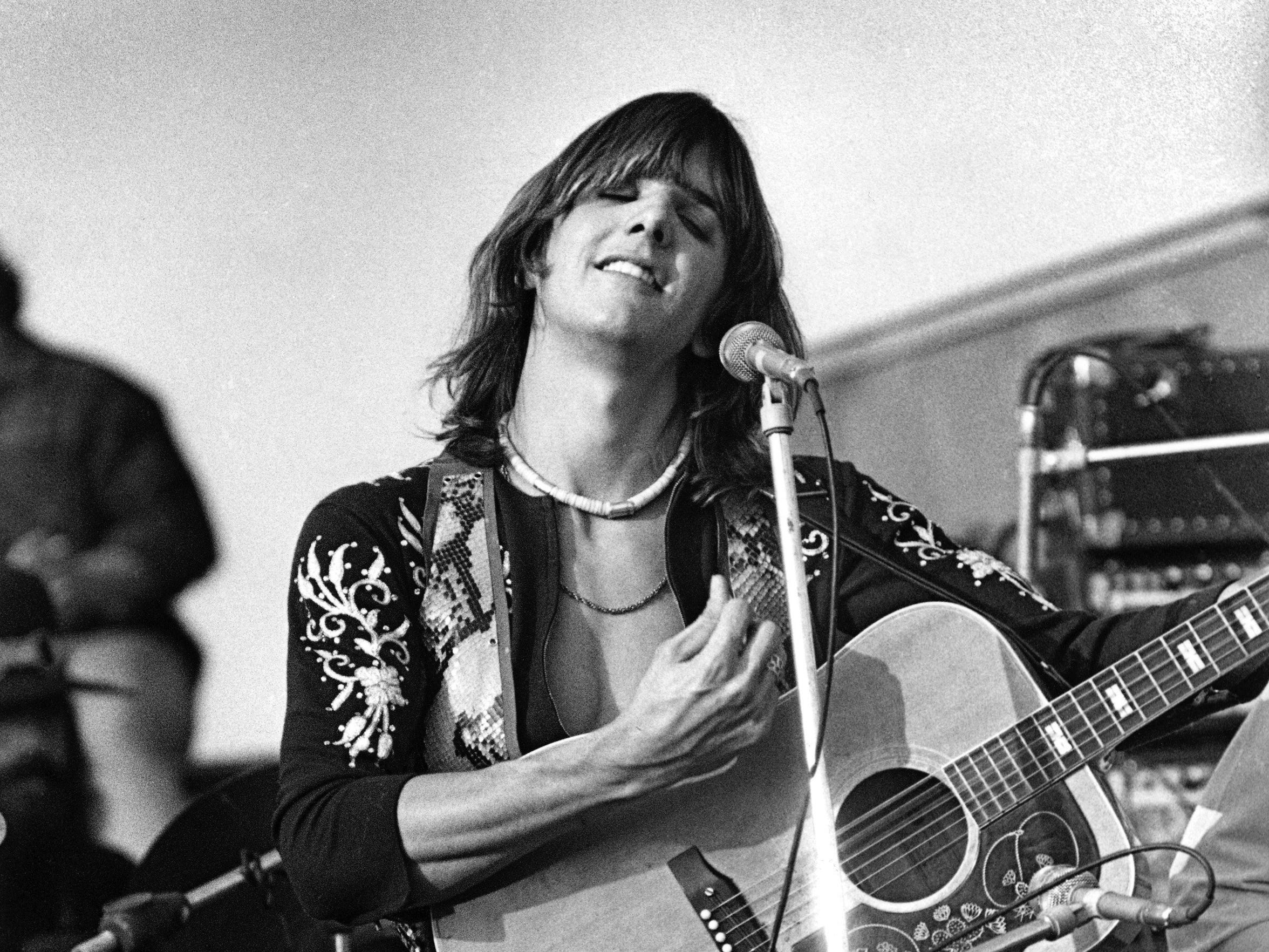 Gram Parsons performs onstage at The Altamont Speedway on Dec. 6, 1969, in Livermore, Calif.