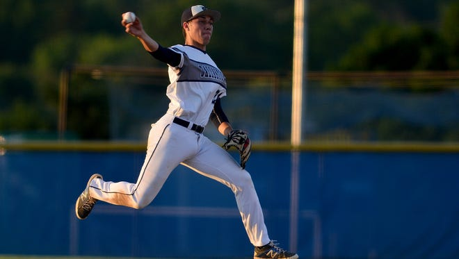 Dallastown's Joe Capobiano makes a leaping throw during the Wildcats' PIAA quarterfinal victory over St. Joseph's Prep. Capobianco is one of the Wildcats' leading hitters. Capobianco was named the Division I Player of the Year by Y-A League coaches this season. John A. Pavoncello photo