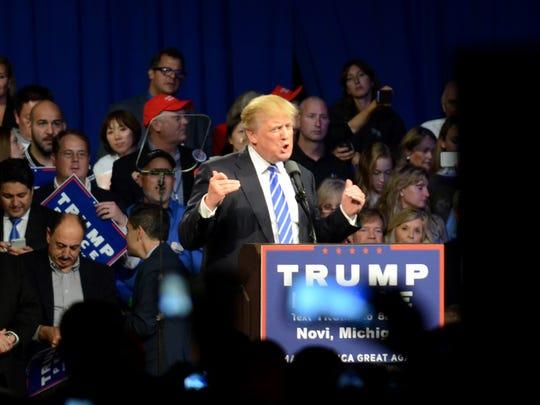 Republican Presidential hopeful Donald J. Trump speaks