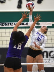 Reno's Parker Buddy (10) goes up for the kill against