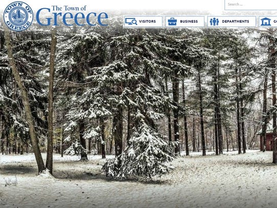 A screenshot of the Town of Greece website on March