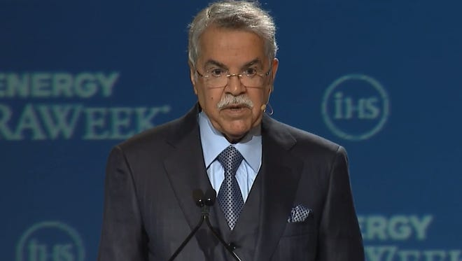 Saudi oil minister Ali bin Ibrahim Al-Naimi speaks to IHS Energy CeraWeek in Houston on Feb. 23, 2016, in this screen cap of a live-stream of his remarks.
