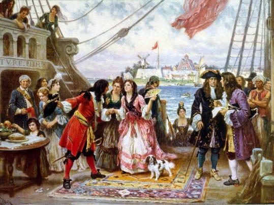 Captain Kidd in New York Harbor, ca. 1920 painting by Jean Leon Gerome Ferri.jpg