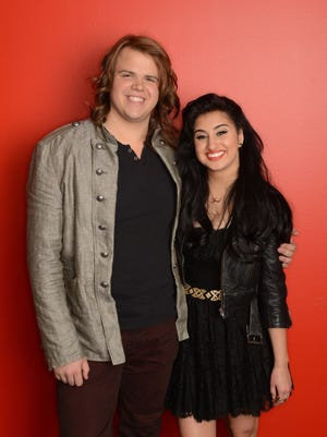 """""""American Idol XIII: The Final 2,"""" contestants, Caleb Johnson, left, and Jena Irene. The singing contest, in its 13th season, awards a record contract to the winning contestant."""