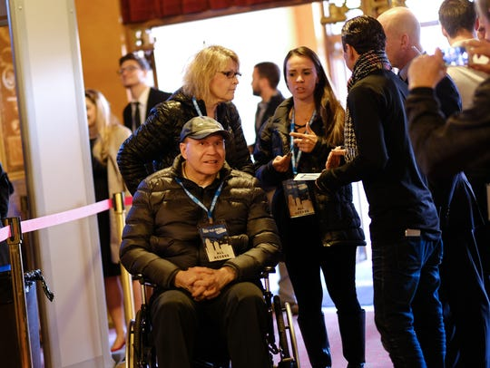 Former Detroit Red Wing Vladimir Konstantinov arrives