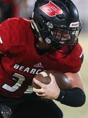 Ballinger's Cooper Bean runs the ball against Sonora on Friday, Nov. 3, 2017, at Bearcat Stadium in Ballinger.