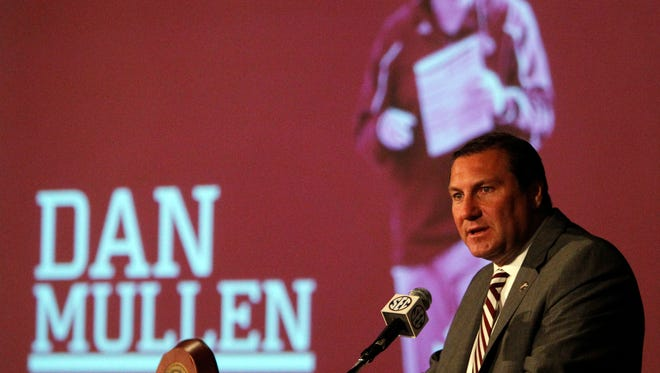 Mississippi State Coach Dan Mullen speaks to media at the Southeastern Conference media days on Tuesday, July 15, 2014, in Hoover, Ala. (AP Photo/Butch Dill)