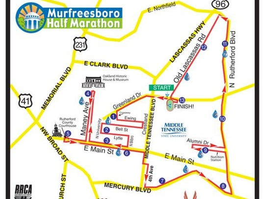 Streets on the route of the Murfreesboro Half Marathon near downtown Murfreesboro will close at 6:30 a.m. on Saturday morning.