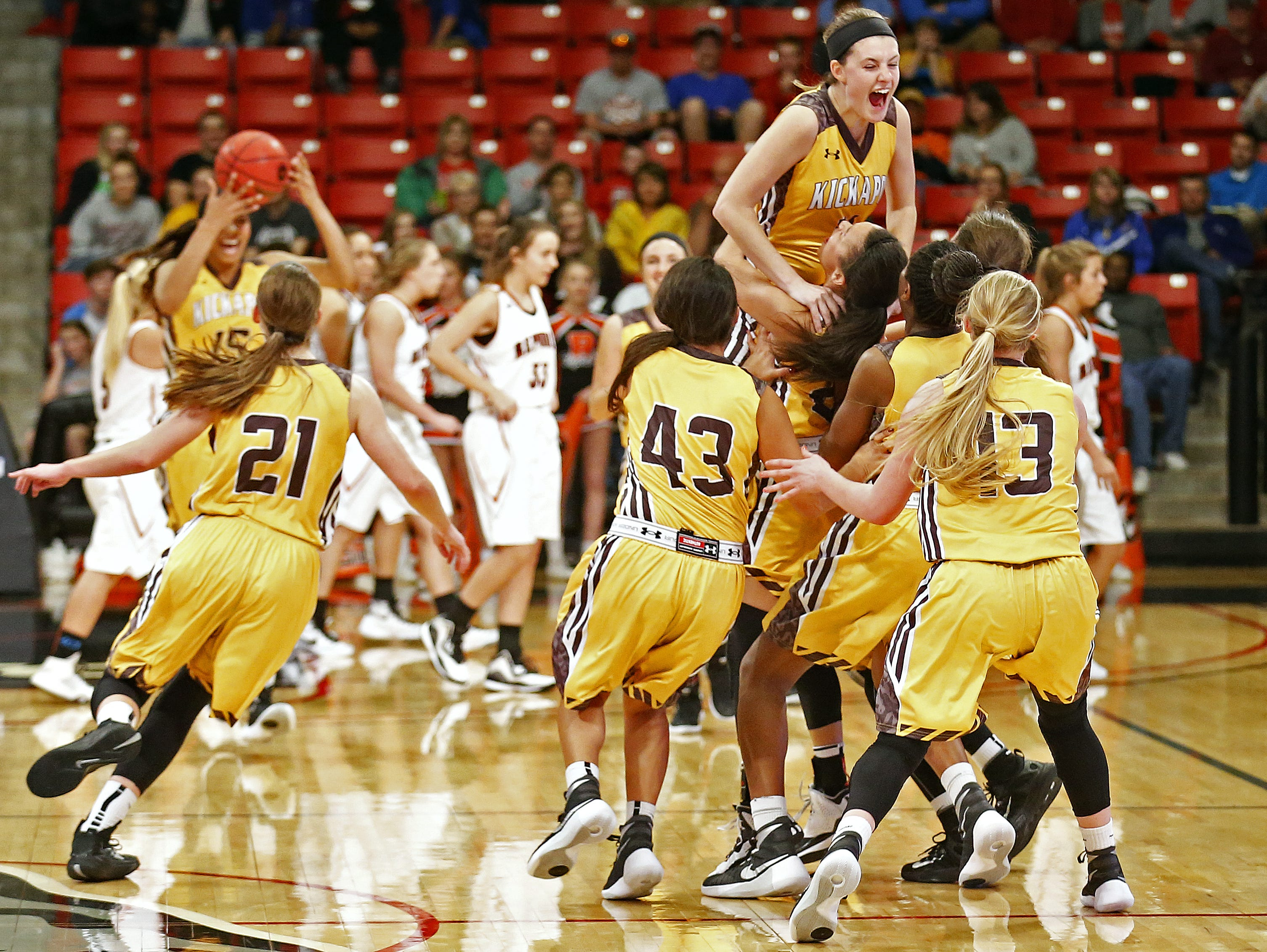 The girls basketball team from Kickapoo High School finishes the 2015-2016 season ranked No. 1 in the Missouri coaches' poll, having won the 2016 Class 5 state championship.