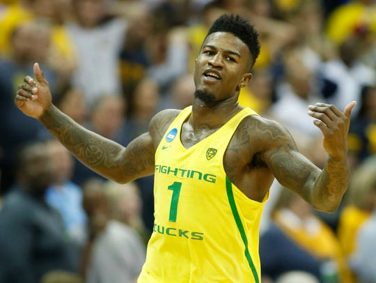 Oregon Ducks forward Jordan Bell reacts after a game
