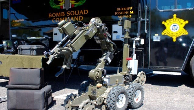 Maricopa County Sheriff's Office uses an ANDROS F6 robot that can carry up to 200 pounds. Phoenix-area law-enforcement agencies use bomb-squad robots for a variety of tasks. They're traditionally used to inspect or detonate suspicious packages, though they can also be used offensively.