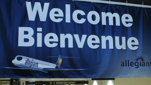 An Allegiant Air banner at Plattsburgh International