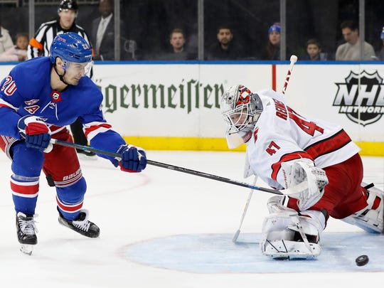 Carolina Hurricanes goaltender James Reimer (47) turns away a shot by New York Rangers left wing Chris Kreider (20) during the second period of an NHL hockey game Friday, Dec. 27, 2019, in New York. (AP Photo/Kathy Willens)