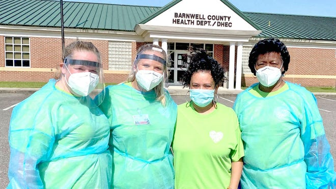 Some of the crew from DHEC and Low Country Health Care System who helped with the drive-thru testing.