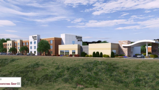 This rendering shows what the remodeled Fairfield Inn will look like from I-43. The hotel is expected to open in fall 217.