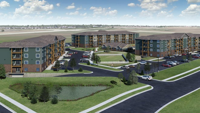 Renderings of the planned 180-unit Huntington Village Apartments, located just southeast of 41st Street and Highway 11 in southeast Sioux Falls.