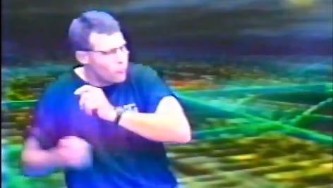 """Then high school football coach Gus Malzahn break dances to MC Hammer's """"U Can't Touch This"""""""