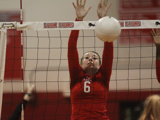 Leon's Macy Maxwell goes for a block during Wednesday