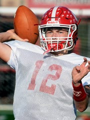Susquehannock senior Hunter Sentz, seen here at practice for the Warriors football team, is also a leader on the Warriors baseball team. The honorable-mention all-star pitcher is back for his senior season after posting a 4-2 record with a team-bests in ERA at 1.18 and strikeouts at 45. DISPATCH FILE PHOTO