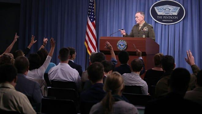 Gen. Joseph Dunford answers reporters Oct. 23, 2017.