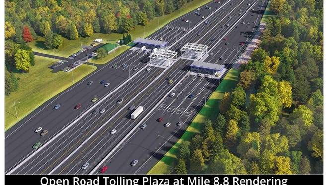 The new York toll plaza on the Maine Turnpike, seen in this rendering, is moving into its final phase of construction with lane changes beginning at night on Sunday, Oct. 18, 2020.