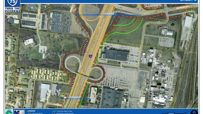 """An aerial map shows affected areas and proposed plans for Interstate-75 near General Electric and Evendale Road in Evendale. These plans are part of the """"Thru the Valley"""" Interstate 75 widening and reconstruction project."""