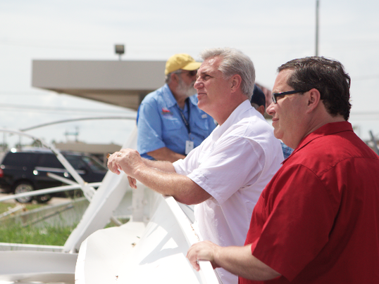 House Majority Leader Kevin McCarthy and U.S. Rep. Blake Farenthold take a firsthand look at damages to the north Coast Bend district.