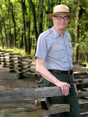 Chief of Operations at the Stones River Battlefield, Gib Backlund seen here in the slaughter pen area of the battle field, on Friday, April 22, 2016, will be retiring soon after 24 years at Stones River and 38 with the Parks Services.