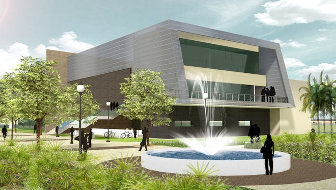 An artist's rendering of the planned student union building and plaza on Eastern Florida State College's Melbourne campus.