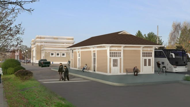 Architectural rendering of the Salem Railroad Baggage Depot.