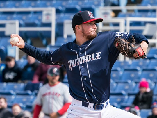 Binghamton Rumble Ponies pitcher Andrew Church throws during a game against the Portland Sea Dogs on April 7 at NYSEG Stadium.