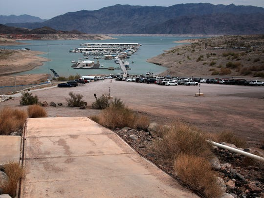 The marina at Callville Bay has been moved repeatedly as the level of Lake Mead has dropped. This photo was taken in 2014 near the marina's administration building, where the water level stood when the reservoir was nearly full in 2000.