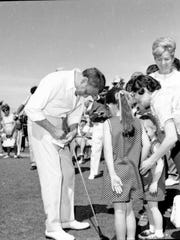 Frank Sinatra mingles with the crowd while playing in the Frank Sinatra Open Invitational 1963 at Canyon Country Club in Palm Springs.