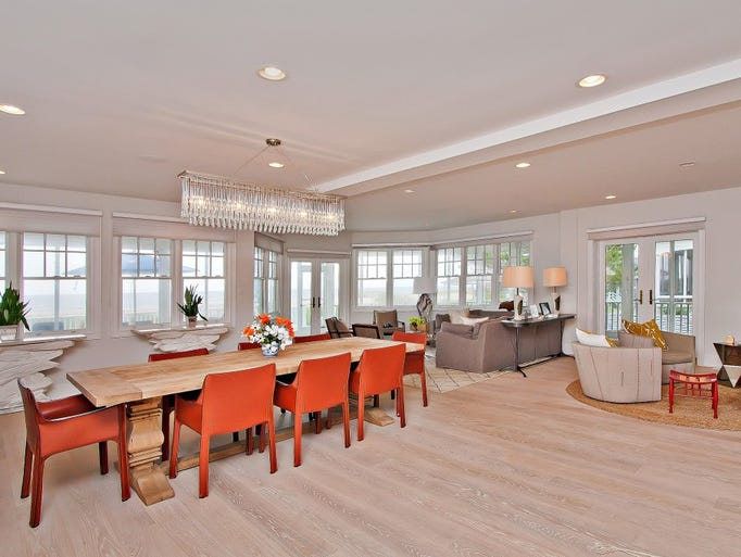 The dining room is spacious and modernly appointed.