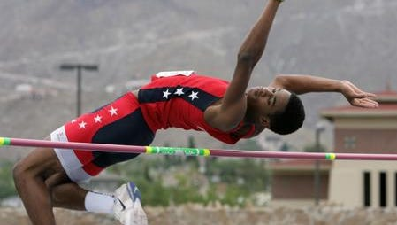 KeAndre Bates competed in the high jump duirng the USA Track and Field Region 10 Junior Olympic meet at UTEP's Kidd Field in 2012.
