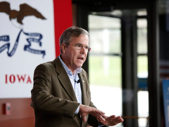 Republican presidential candidate and former Florida Gov. Jeb Bush speaks in the atrium at the Sullivan Brothers Iowa Veterans Museum during a campaign stop Tuesday, Dec. 1, 2015, in Waterloo.
