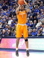 Tennessee's Lamonte Turner (1) takes an uncontested shot during the second half of an NCAA college basketball game against Kentucky, Tuesday, Feb. 6, 2018, in Lexington, Ky. Tennessee won 61-59. (AP Photo/James Crisp)