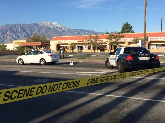 At least one person is dead following a crash involving a car and a pedestrian in Desert Hot Springs.