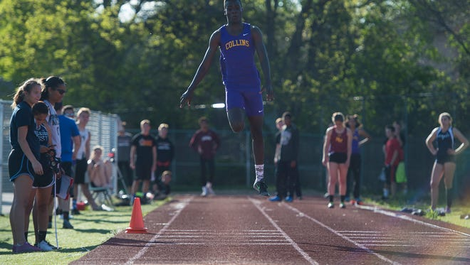 Fort Collins High School's Allam Bushara, shown her competing last year, broke his own school record in the triple jump last week.