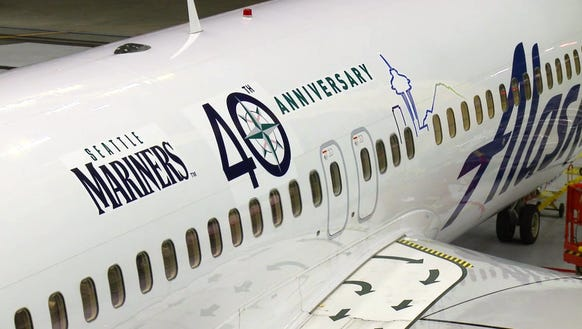 Alaska added this special logo to one of its Boeing